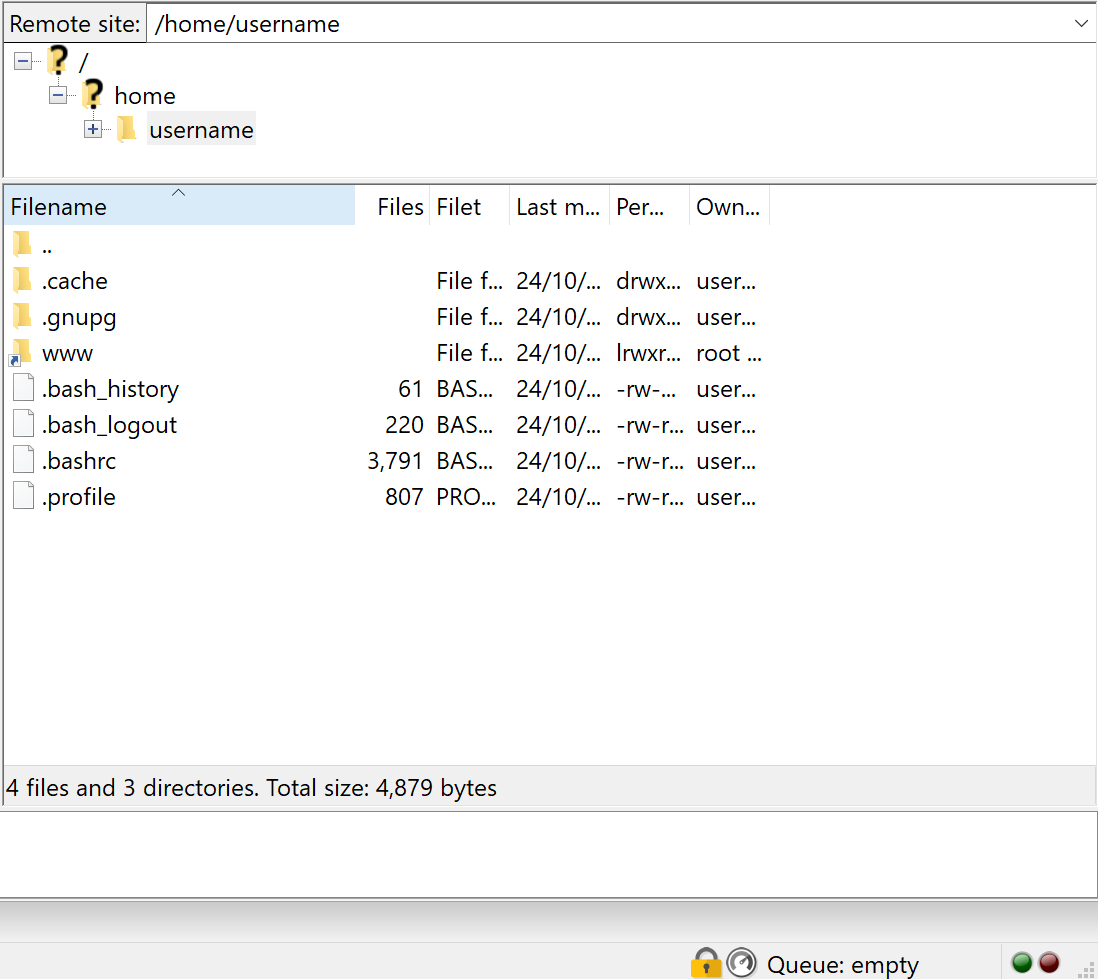 Image showing how files are shown in FileZilla