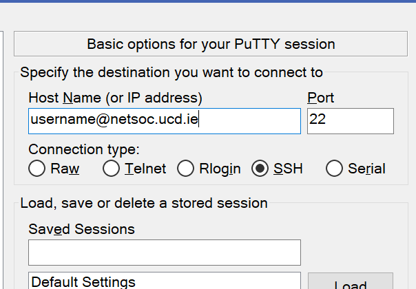 Image showing how to connect to server using Putty